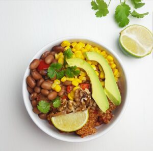 Vegetarische chili con carne met quinoa en walnoten